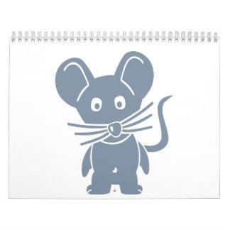 Ratón cómico gris calendarios de pared