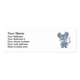 Ratón cómico gris tarjetas de visita mini