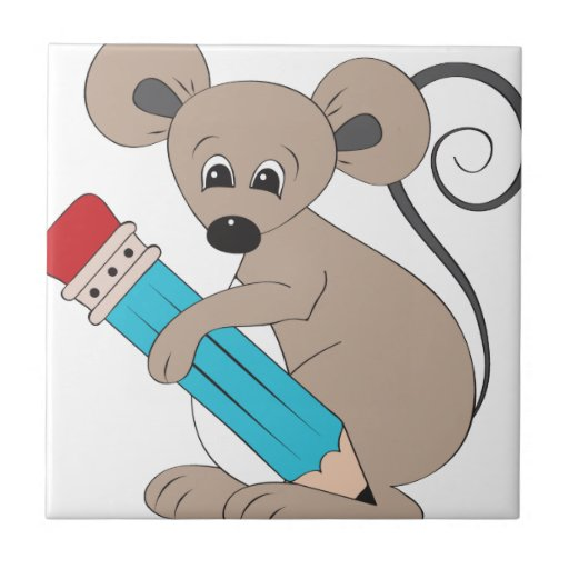 ratón con el lápiz azulejo cuadrado pequeño