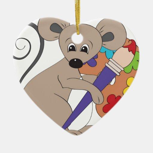 ratón con el pintura-artista adorno navideño de cerámica en forma de corazón