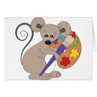 ratón con el pintura-artista tarjeta de felicitación