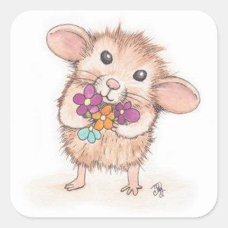 Ratón con el ramo de la flor pegatina cuadrada