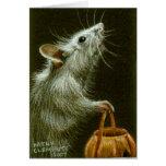 Ratón con la cesta HalloweenCard de la calabaza