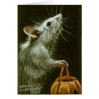 Ratón con la cesta HalloweenCard de la calabaza Felicitacion