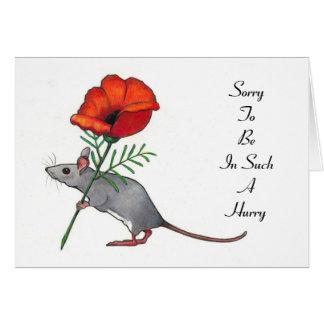 Ratón con la flor, en una prisa: Cumpleaños tardío Tarjeta De Felicitación