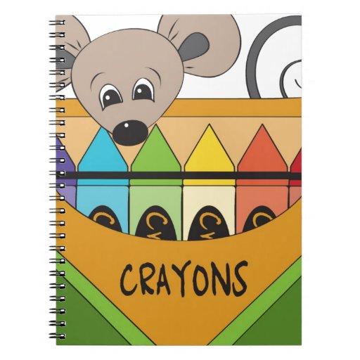 ratón con los creyones libros de apuntes con espiral