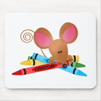 Ratón con los creyones tapete de ratón