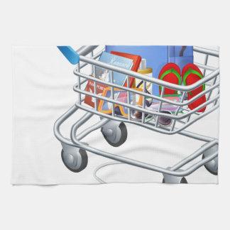 Ratón conectado con el carro de la compra del día toalla de mano