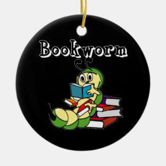 Ratón de biblioteca adorno navideño redondo de cerámica