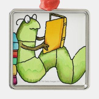 Ratón de biblioteca adorno cuadrado plateado