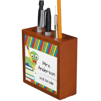 Ratón de biblioteca lindo, profesor personalizado portalápices