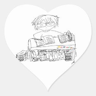 Ratón de biblioteca pegatina en forma de corazón