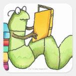 Ratón de biblioteca pegatina cuadrada