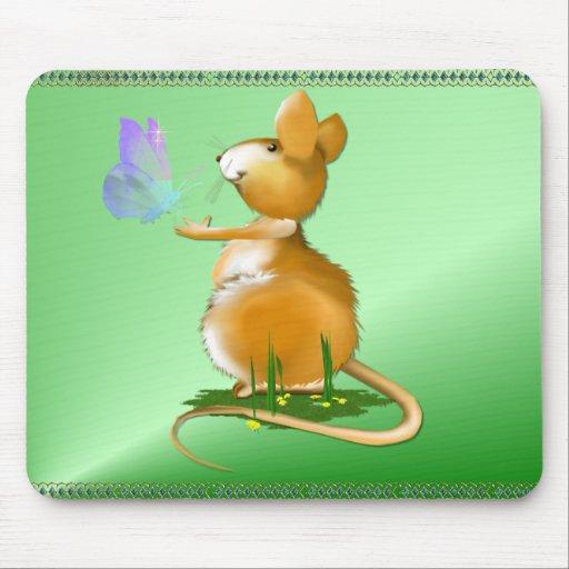 Ratón de campo y mousepad azul de la mariposa tapete de raton
