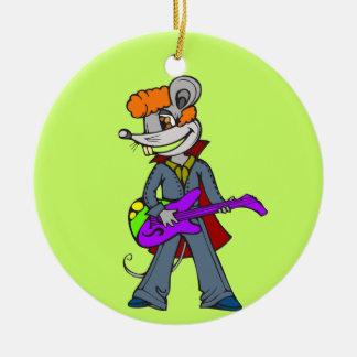 Ratón de la estrella del rock adorno navideño redondo de cerámica