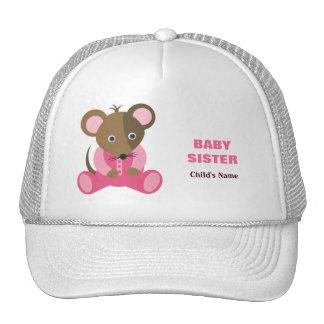 Ratón de la hermana en durmiente rosado gorros bordados