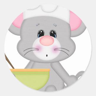 Ratón de la hornada pegatinas redondas