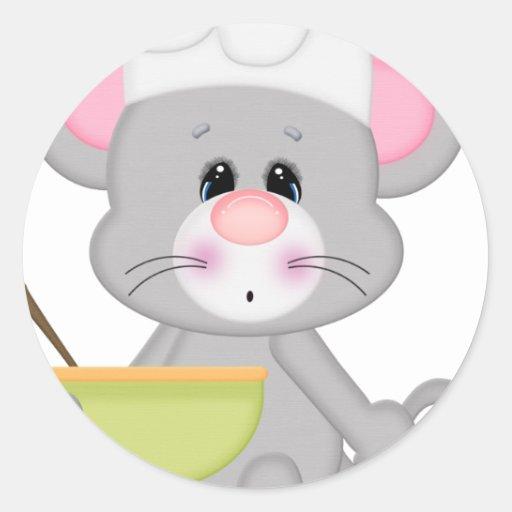 Ratón de la hornada pegatina redonda