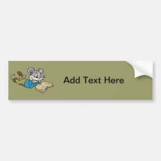 Ratón de la lectura pegatina de parachoque