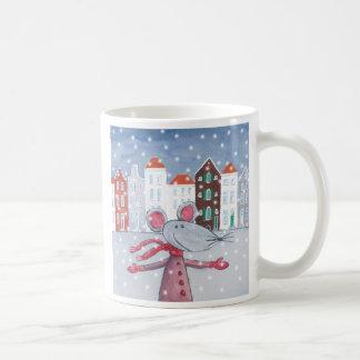 Ratón de la nieve taza de café