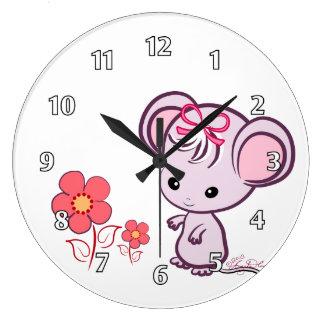 Ratón de la niña reloj redondo grande