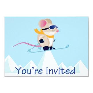 Ratón de la patrulla del esquí en las montañas le invitación 12,7 x 17,8 cm