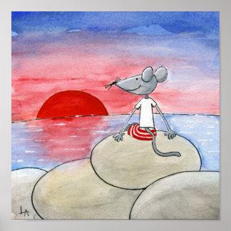 Ratón de la puesta del sol póster