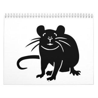 Ratón de la rata negra calendario de pared