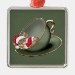 Ratón de la taza de té el dormir ornamentos para reyes magos