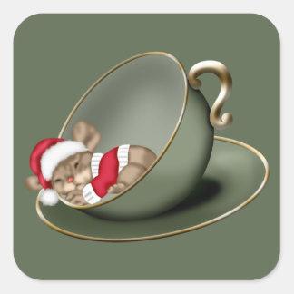 Ratón de la taza de té el dormir pegatina cuadrada