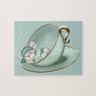 Ratón de la taza de té el dormir puzzles con fotos
