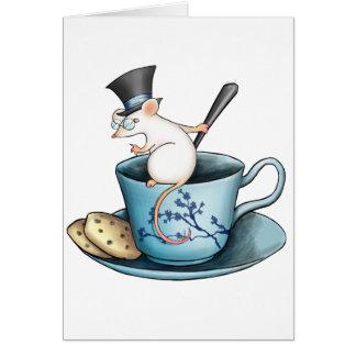 Ratón de la taza de té en Tophat Tarjeta De Felicitación