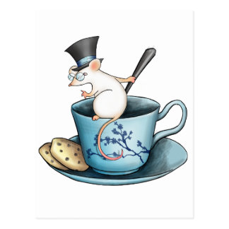 Ratón de la taza de té en Tophat Tarjeta Postal