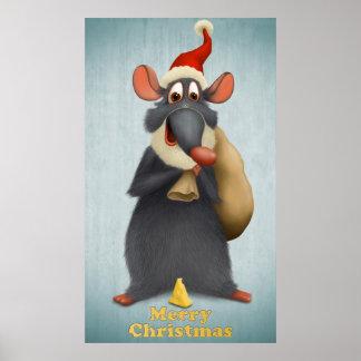 Ratón de las Felices Navidad Póster