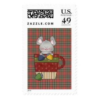 ratón de las luces de navidad en taza sellos postales