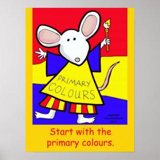 Ratón de los colores primarios de Vera Trembach Póster
