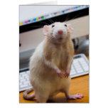 Ratón de Marty que se levanta la tarjeta de felici