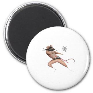 Ratón de Ninja del navidad Imán Redondo 5 Cm