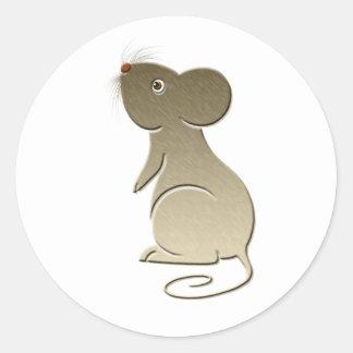 Ratón de oro lindo pegatina redonda