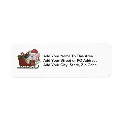 Ratón de Santa con el trineo Etiquetas De Remite