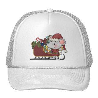 Ratón de Santa con el trineo Gorro