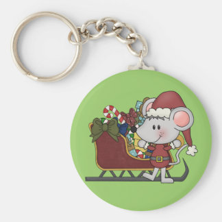 Ratón de Santa con el trineo Llavero Redondo Tipo Pin