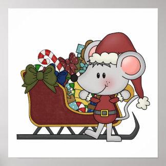 Ratón de Santa con el trineo Impresiones