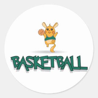 Ratón del baloncesto pegatina redonda