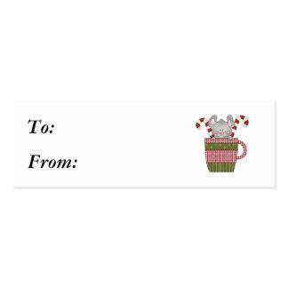 ratón del bastón de caramelo en taza tarjetas de visita mini