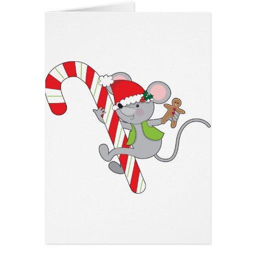 Ratón del bastón de caramelo felicitación