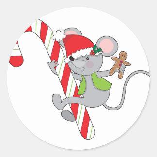 Ratón del bastón de caramelo pegatina redonda