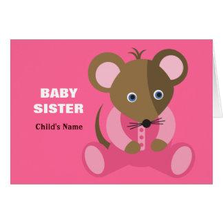 Ratón del bebé de la hermana del bebé en durmiente tarjeta de felicitación
