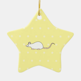 Ratón del blanco del mascota. Fondo amarillo del Ornamento Para Arbol De Navidad