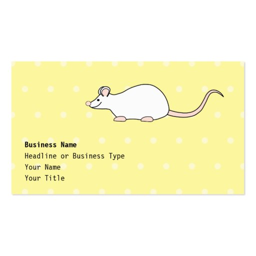Ratón del blanco del mascota. Fondo amarillo del Tarjetas De Visita